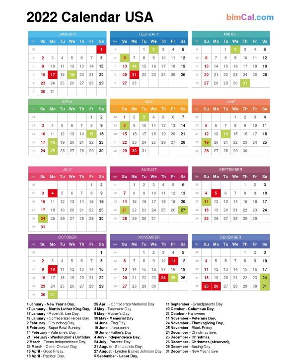 2022 Calendar Usa Bimcal